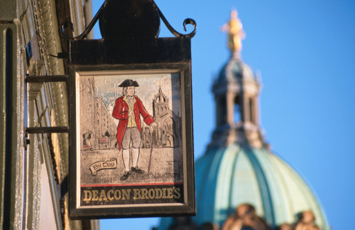 Pub sign of Deacon Brodie's Tavern Lawnmarket.